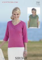 Sirdar Cotton DK Knitting Pattern - 7501 Tops